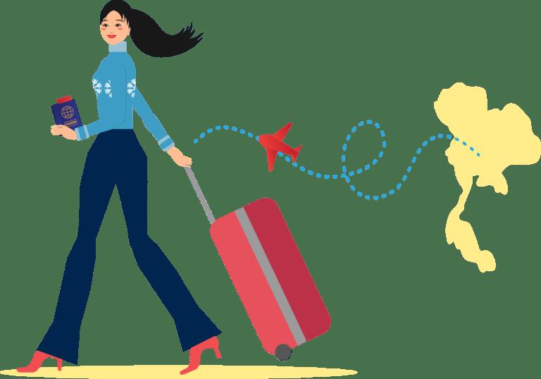 ผู้หญิงใส่เสื้อกันหนาวสีฟ้ากำลังลากกระเป๋าเดินทางสีแดงกำลังเดินทางมาประเทศสวีเดน