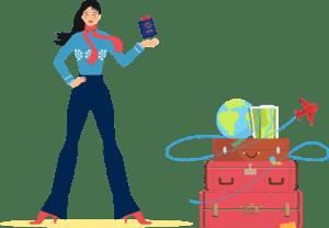 ผู้หญิงใส่เสื้อกันหนาวสีฟ้ากำลังยืนถือพาสปอร์ตสีน้ำเงินและมีกระเป๋เดินทางอยู่ข้าง ๆ กำลังเดินทางมาที่สวีเดนเพื่อย้ายมาอยู่และใช้ชีวิตที่สวีเดน