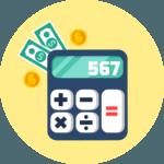 เครื่องคิดเลขสีน้ำเงินและเงินที่วางอยู่ข้าง ๆ เครื่องคิดเลข