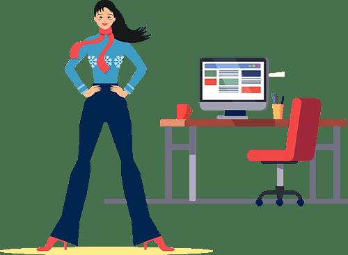 ผู้หญิงใส่เสื้อกันหนาวสีฟ้ากำลังยืนอยู่ข้างโต๊ะทำงานที่มีเก้าอี้สีแดงและคอมพิวเตอร์ตั้งอยู่บนโต๊ะ